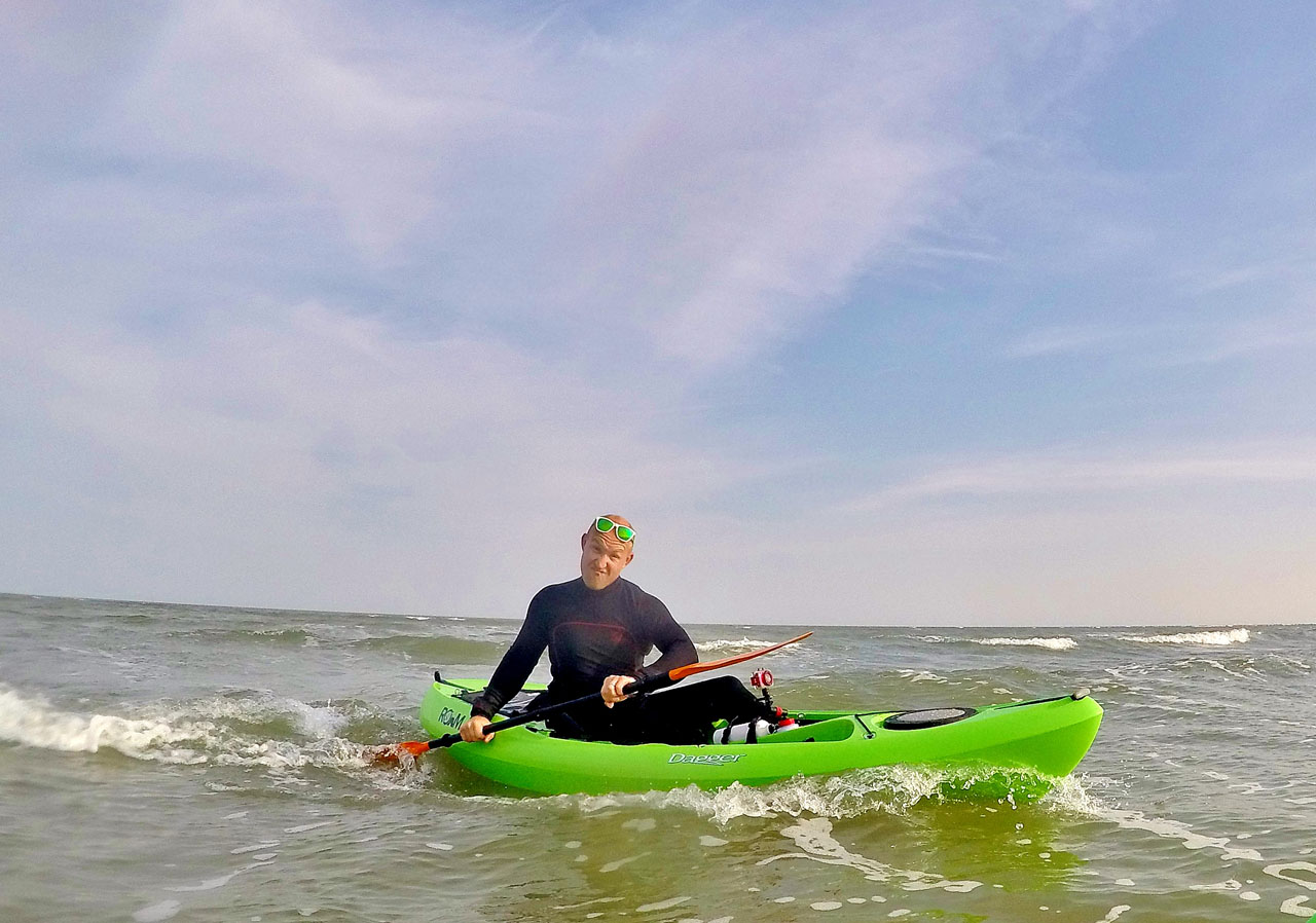 Kayaking in the wind